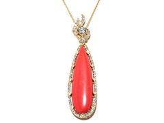 18kt Plated Synthetic Coral Necklace