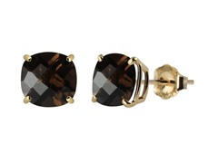 10K YG Stud Earrings, Smoky Quartz