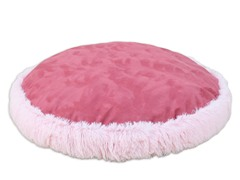 Shaggy Pink Dusty Rose Round Pet Bed