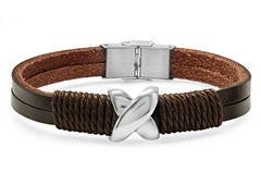 Men's Leather Bracelet with X