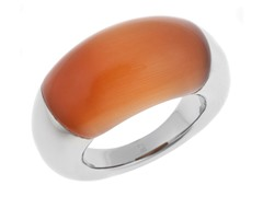 Stainless Steel and Dark Peach Onyx Stone Ring