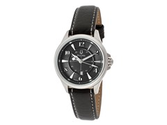 Bulova Black Dial Black Genuine Leather