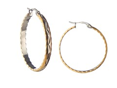 Stainless Steel Polish 3-Tone Diamond Cut Flat Hoop Earrings
