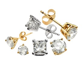 Certified 14K Gold & Diamond Studs