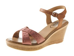 Carrini Wedge Sandal, Coral/Tan