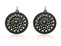 Riccova Country Chic Black Crystal Flower Medallion Dangle Earring
