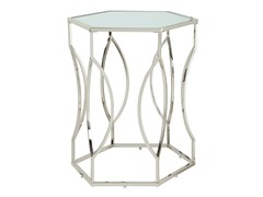 Contemporary Hexagon Wavy Glass Top Accent Table
