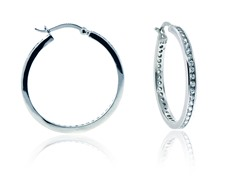 "SS Simulated Diamond 1.4"" Eternity Round Hoop"