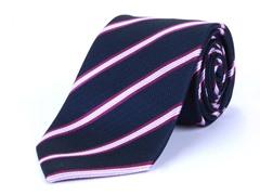 Silk Tie, Navy w/ Fuchsia