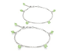 Peridot Bracelet & Anklet Set