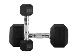 X-Mark 5-25 lb. Rubber Hex Dumbbell Set
