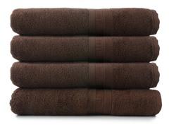 MicroCotton 4pc Bath Towel Set-Chocolate