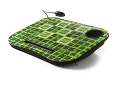 Laptop Cushion w/ LED Light - Green/Black