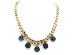 Blue Circle Crystal Pave Cuban Chain Necklace
