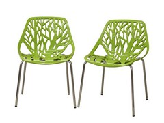 Dining Chair Green Plastic 2-PC