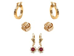 Gold & Ruby with Clear Crystal Set of 3 Drop & Hoop Earrings