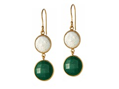 Gold-Plated SS Genuine Dyed Emerald & Coin Freshwater Peal Earrings