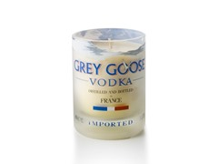 Stone Candles 14 Fl oz Grey Goose Reclaimed Bottle - White
