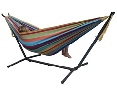 Double Hammock with Steel Stand, Tropical