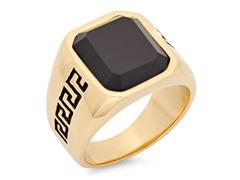 SS & 18kt Gold Ring w/ Carbon Fiber