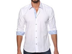 Jared Lang Dress Shirt, White/Blue Check