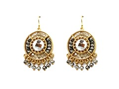 Gold-Plated & Glass Bead Dangling Earrings - Silver