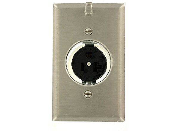 Leviton CLOCK RECEPTACLE w// Hanger SATIN NICKEL 3-Wire 20A 125 Volt NEW 5361-CH
