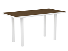 Euro Counter Table, White/Teak