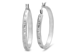 Stainless Steel Hoop Earrings w/ Accent