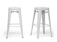 French Industrial Bar Stool Set of 2 White