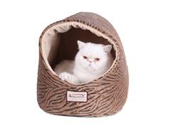 Hooded Cat Bed - Bronze & Beige