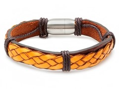 Men's Brown Leather Bracelet w/ Fabric