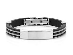 Bracelet w/ Inlay Wire Accent & ID Plate