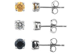 SS 3pc Earring Set, Clear/Amber/Black