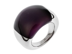 Stainless Steel and Purple Stone Ring