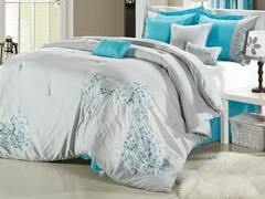 Floral 8Pc Comforter Set - Grey - 2 Sizes