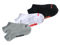 Puma No-Show Socks, White/Black/Grey 3pk