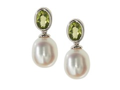 SS, Peridot & Freshwater Pearl Earrings