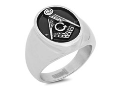 2-Tone SS Masonic Ring w/ Black IP