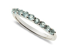 9 Stone Blue Topaz Ring