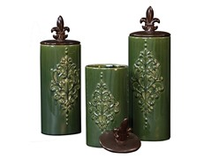 Green w/Embossed Ceramic Vases Set/3