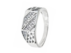 SS Diamond Cut Cut-Out Simulated Diamond Ring