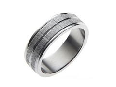Sandblasted Steel Box Pattern Ring