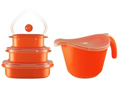 Batter Bowl, Lid & 6-Piece Set Orange