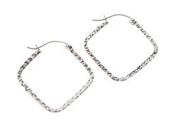 14kt Gold Square Hoop Earrings,White Gold