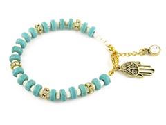 Genuine Turquoise White Bead Hamsa Charm Bracelet
