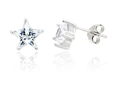 Sterling Silver Platinum Plated CZ Studs