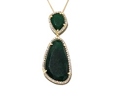 18kt Plated Dyed Jade Emerald Necklace