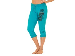 Bottoms Up Owl French Terry Capri, Blue