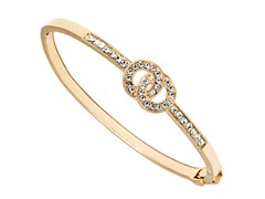Gold/White Swarovski Elements Double Ring Bangle